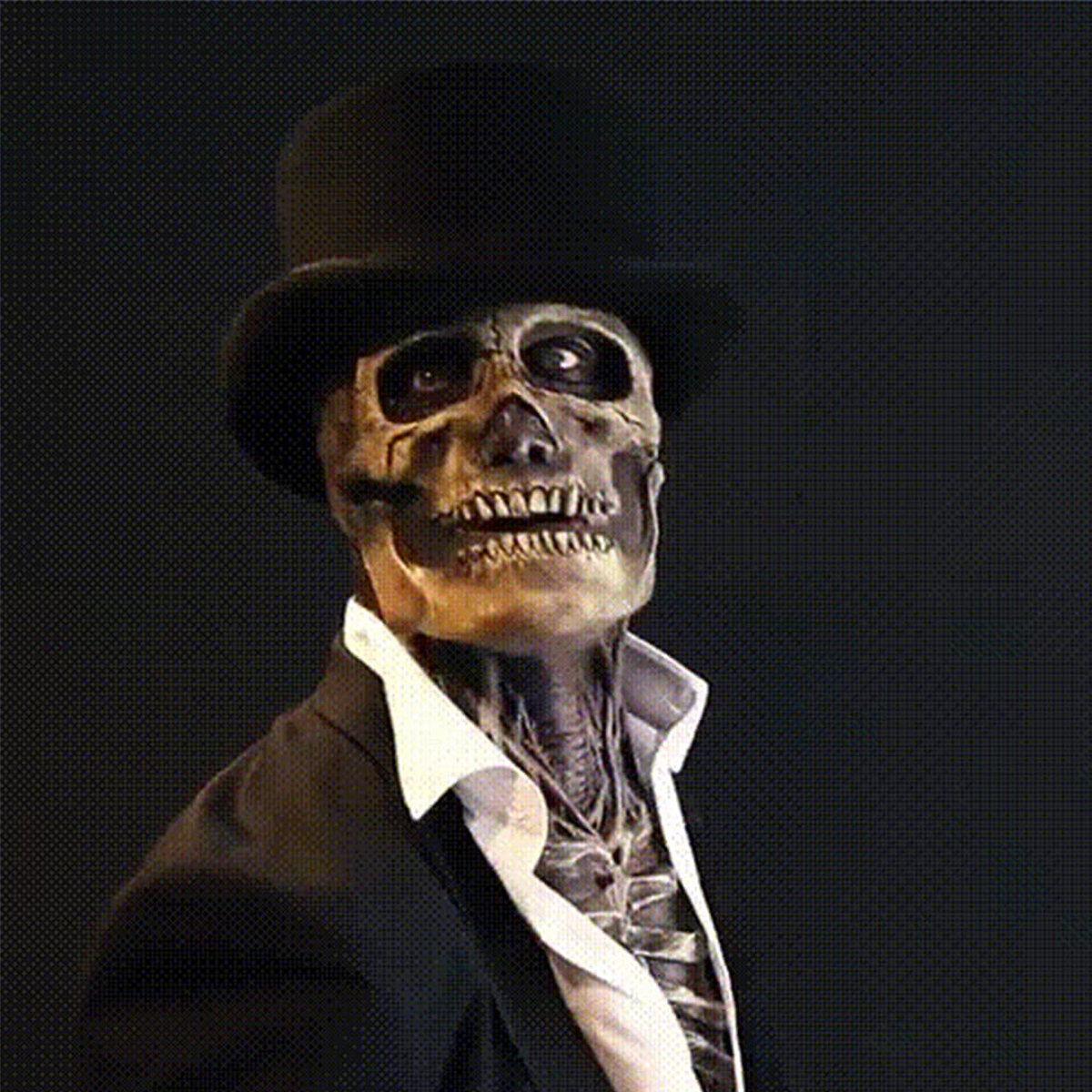 Halloween Movable Mouth Skeleton Mask Cosplay Horror Latex Mask Headgear