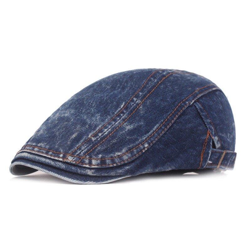 Men Washed Denim Double-Sided Adjustable Painter Beret Hat Newsboy Cabbie Flat Caps