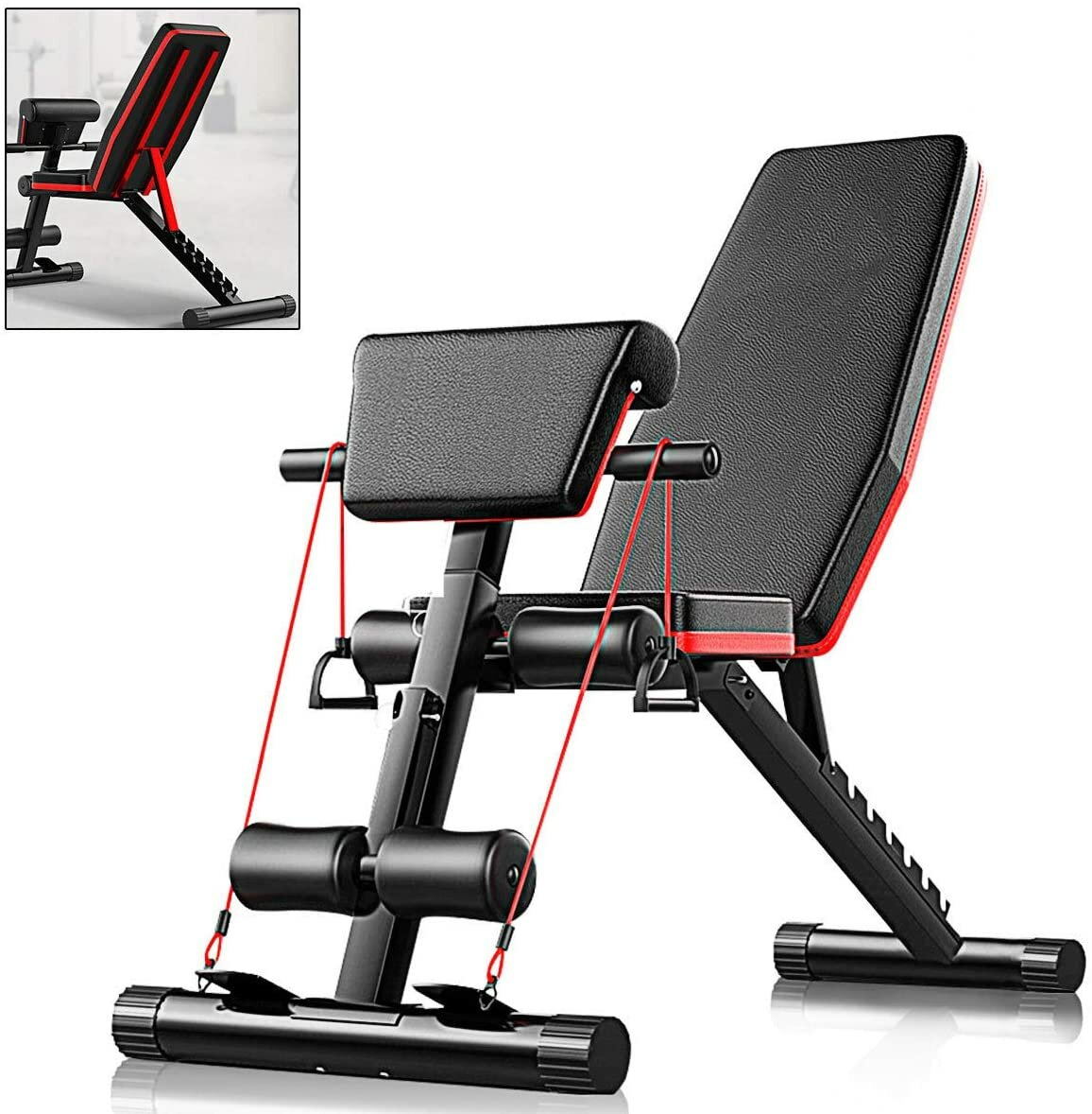 5-in-1 Gym Bench Multifunctional Supine Board Foldable Abdominal Training Machine Bodybuilding Home Fitness Equipment