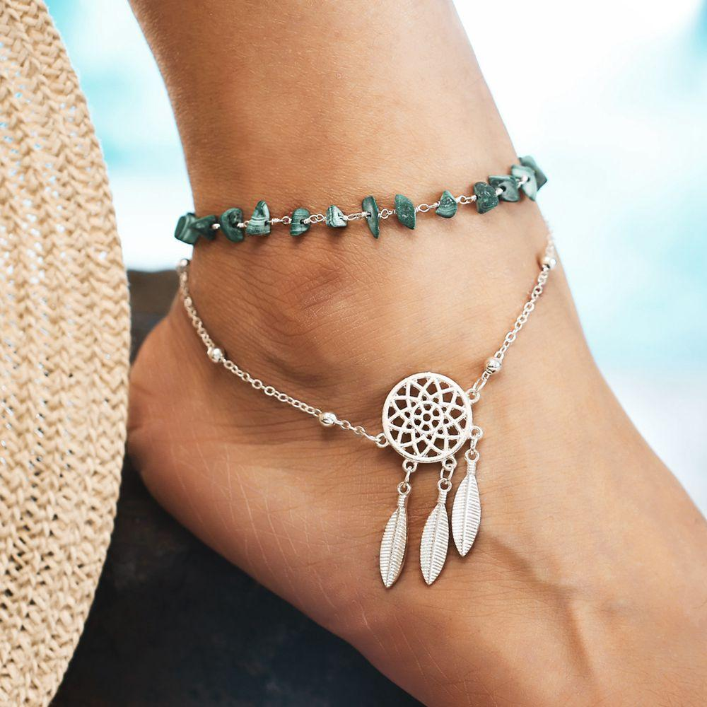 Bohemian Irregular Chain Anklet Green Turquoise Hollow Dream Net Charm Anklets Jewelry for Women