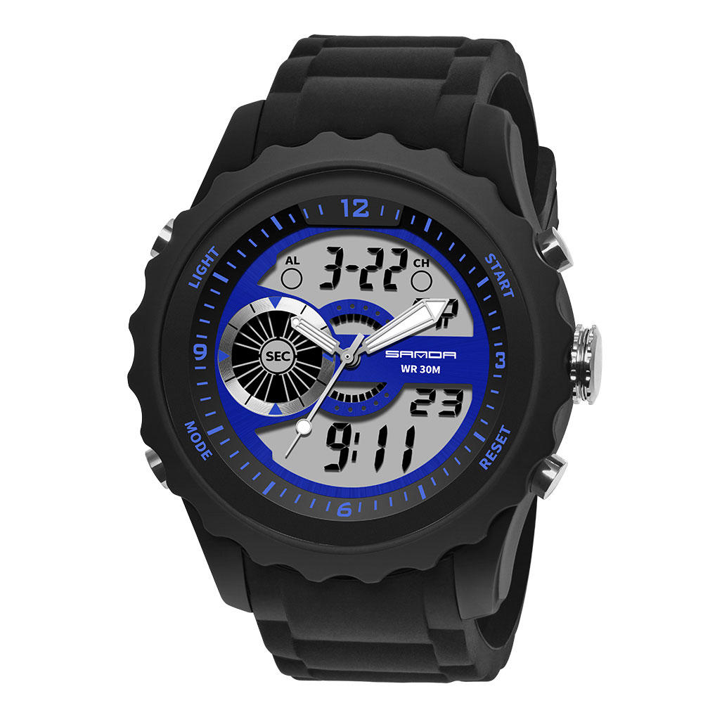 Đồng hồ kỹ thuật số kỹ thuật số SANDA 769 Nam PU Đồng hồ bấm giờ Hiển thị sáng Lịch Đồng hồ thể thao ngoài trời
