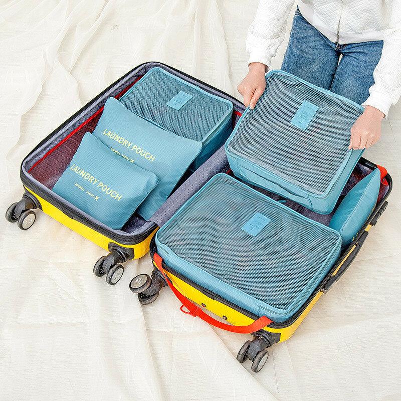 Honana HN-TB8 6 Pcs Tahan Air Tas Penyimpanan Travel Packing Cube Pakaian Kantong Bagasi Organizer