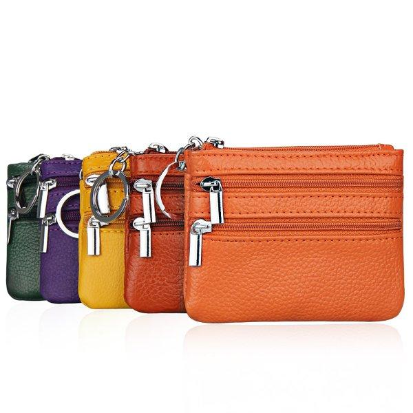 Women Genuine Leather Double Zipper Card Holder Clutch Wallet Candy Color Coin Bags