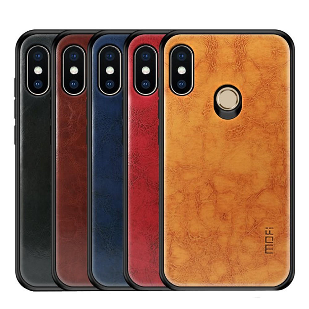 promo code 126cd 8c9a6 Mofi Shockproof PU Leather Pattern Soft TPU Back Cover Protective Case for  Xiaomi Redmi Note 6 Pro