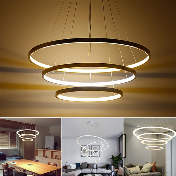 LED Ceiling Pendant Dimming Ring Light Holder Lamp Shade Fixture Home Living Room Decor AC220V - Remote dimming