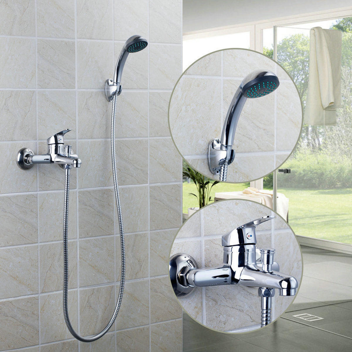 Bathroom Faucets.Chrome Wall Mounted Bathroom Bathtub Shower Faucet Set Mixer With