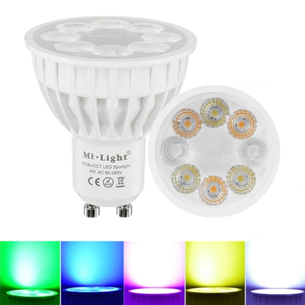 Dimmable GU10 4W Mi Light 2.4G Wireless RGBCCT LED Spot Lightt Lamp Bulb AC86-265V, ZX LED LIGHT  - buy with discount
