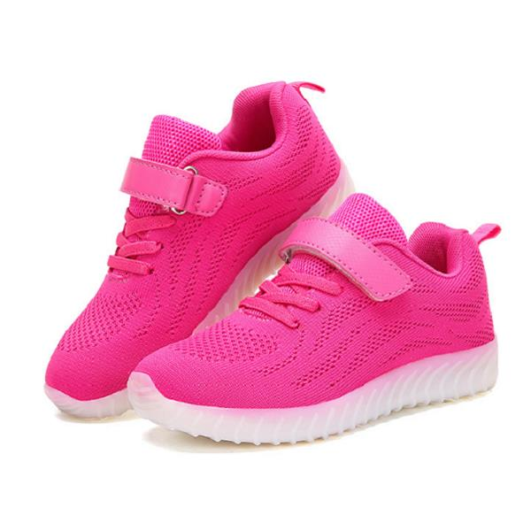 316ee151227926 Kids Light Up LED Sport Shoes Girls Boys Mesh sneakers Flash Shoes - Rose 9  COD
