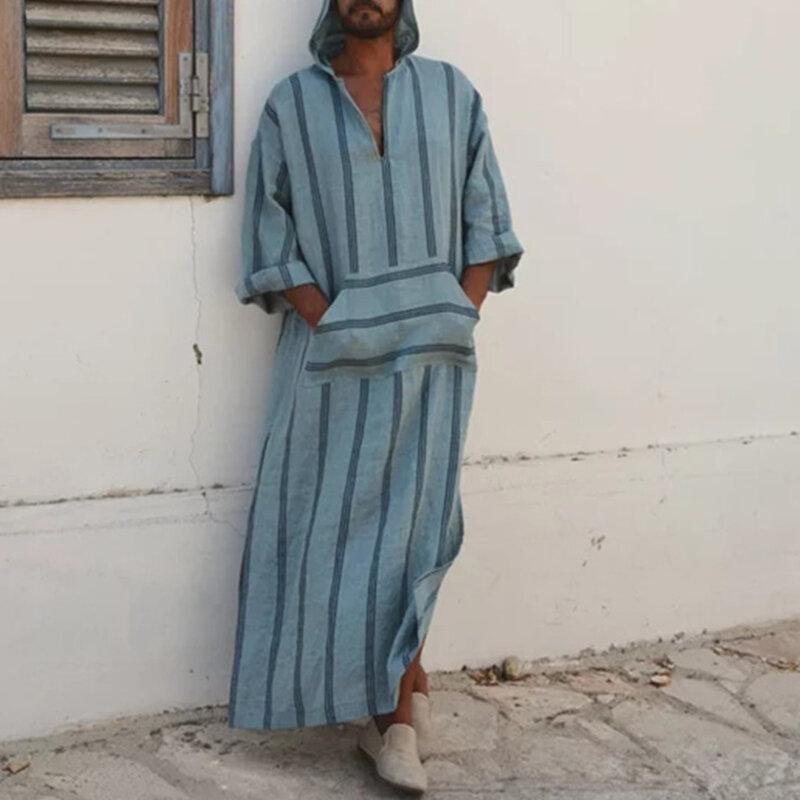 INCERUN Stripe Printing Front Pocket V Neck Hooded Loose Long Dress Tops Shirts for Men