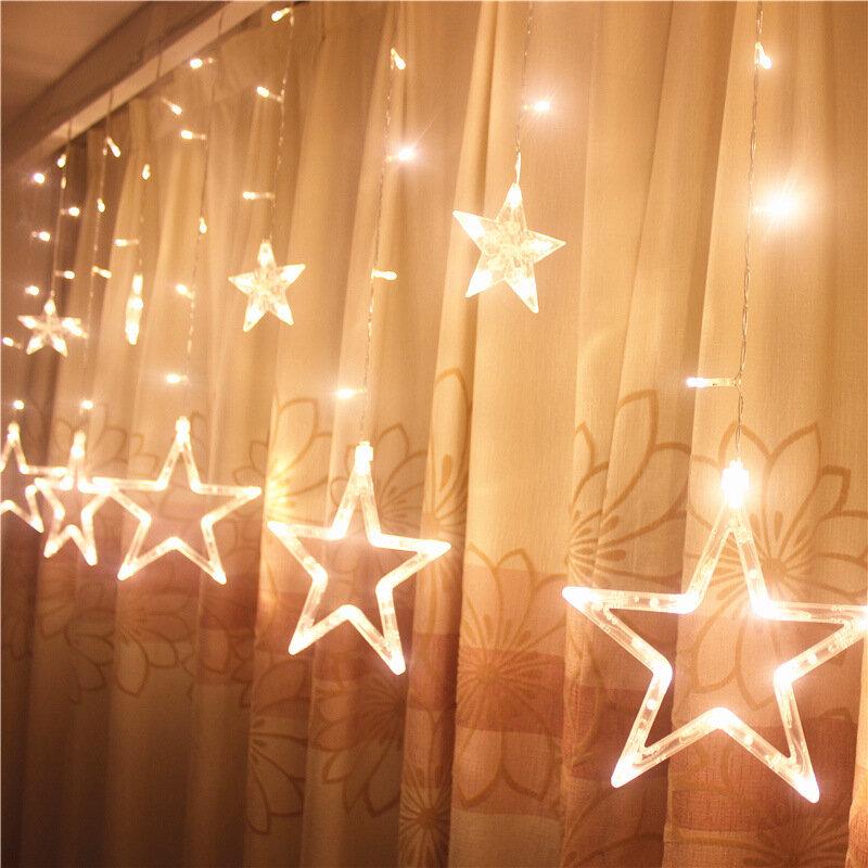Honana HT,336 220V LED Light String Star Shape Curtain Light Home Decor  Celebration Festival Wedding