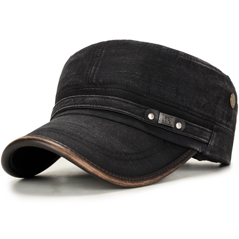 Men Outdoor Cotton Sunshade Military Army Cap Casual Adjustable Durable Flat Top Hat