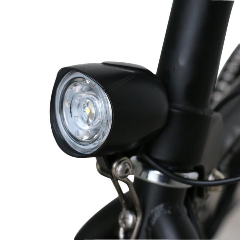 BIKIGHT 36-48V Ancho de voltaje universal Resalte 400LM Luz delantera de la bicicleta Empotrable 80db Bocina para scooter eléctrico Moto E-bike