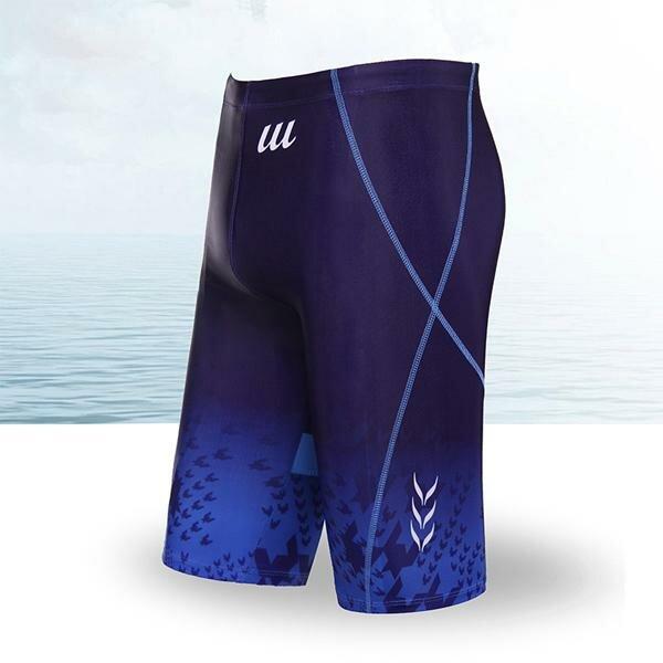 पुरुषों ग्रीष्मकालीन समुद्र तट सेक्सी कम कमर बॉक्सर ट्रंक फैशन प्रिंटिंग लंबी स्पा तैराकी शॉर्