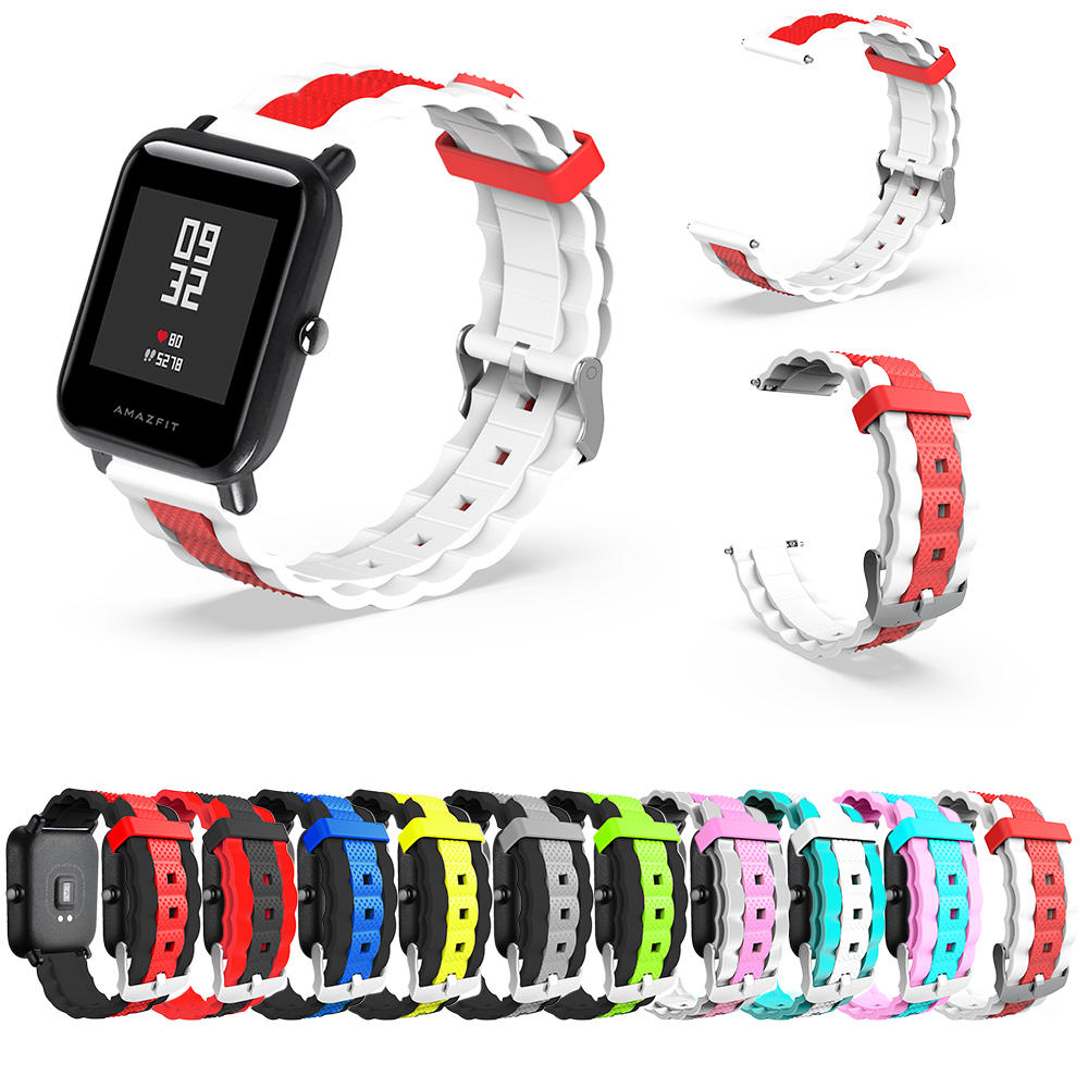 20mm Three-colour Waves Shape Watch Band Strap Replacement for Xiaomi AMAZFIT Bip Pace Youth