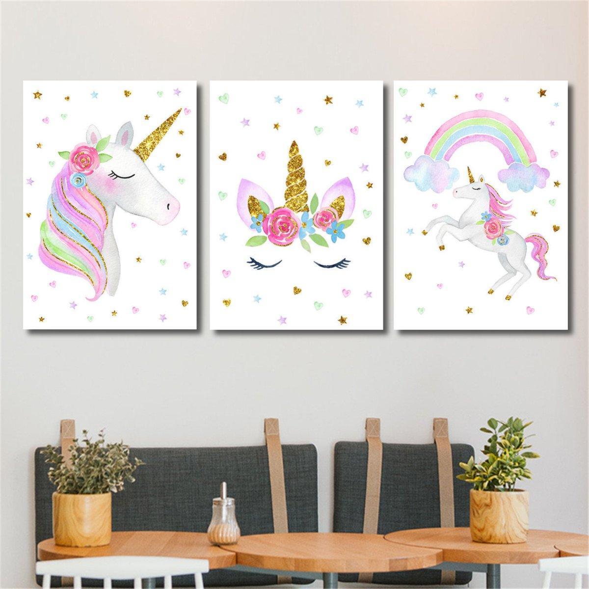 e0d203fcbc Cute Unicorn Rainbow Canvas Poster Nursery Wall Art Canvas Print Baby Room  Decorations - #3 COD