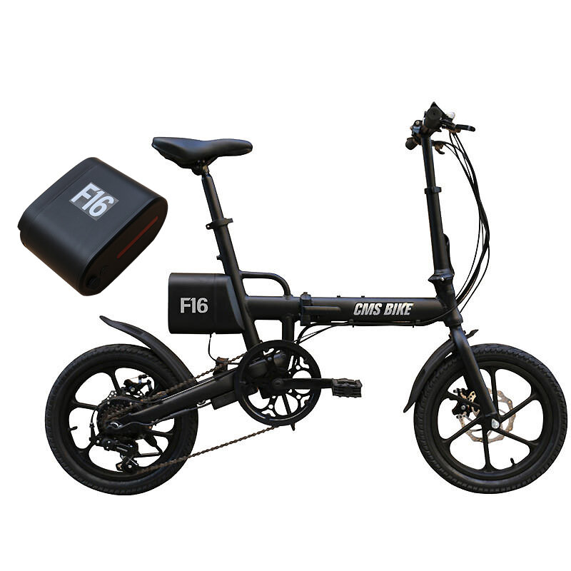 CMSBIKE F16 36V 7.8AH 250W Black 16 Inches Folding Electric Bicycle With An Extra Battey Xiaomi E bike