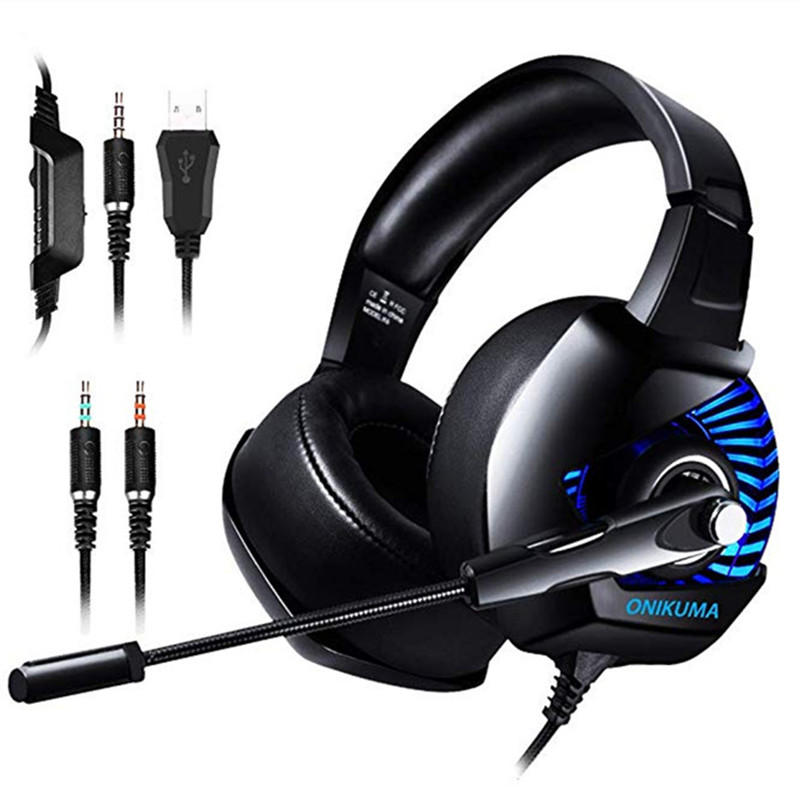 K6 Professional Wired Gaming Headset LED RGB Lighting Headphone 3 5mm Bass  Noise Cancelling With Mic