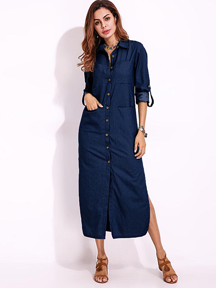 Uzun Kollu Denim Gömlek Elbise Katı Renkli Düşey Yaka Düğmesi Elbise