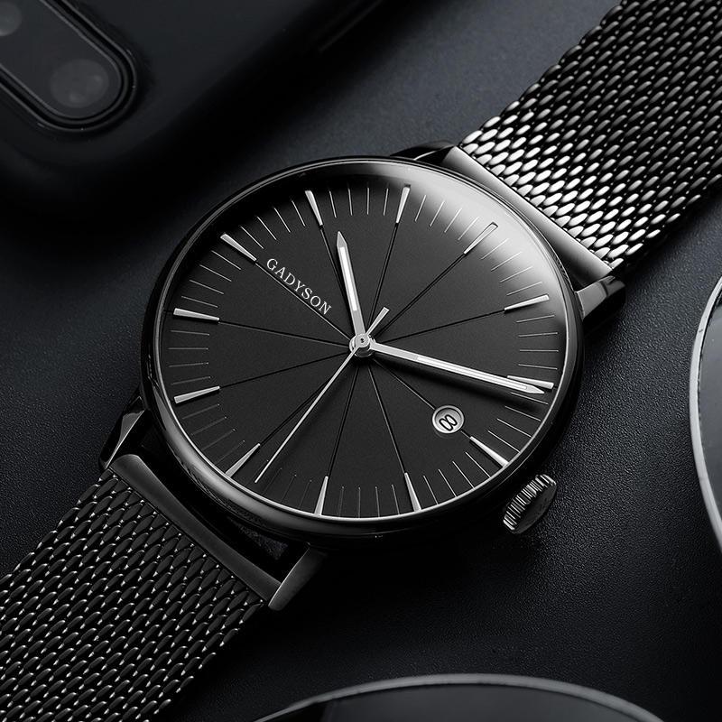 GADYSON A9105 Lịch Đồng hồ đeo tay nam phong cách thông thường Full Steel dạ quang Hiển thị đồng hồ thạch anh