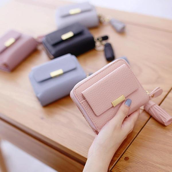 Women Candy Color Tassel Short Wallets Girls Zipper Purse Card Holder Coin Bags
