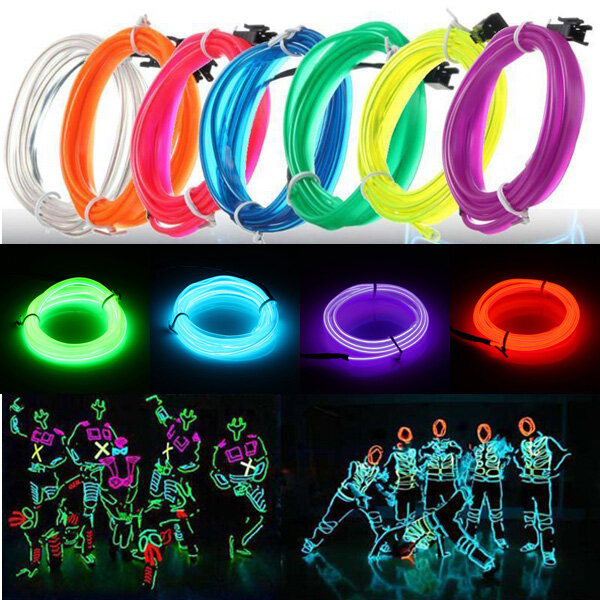 Christmas Holiday Party.3m Led Flexible El Wire Neon Glow Light Rope Strip 12v For Christmas Holiday Party