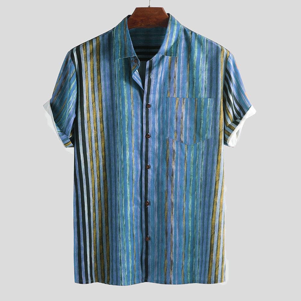 Mens Sommar Colorful Striped Praktisk Ficka Kortärmad Lös Casual Skjortor