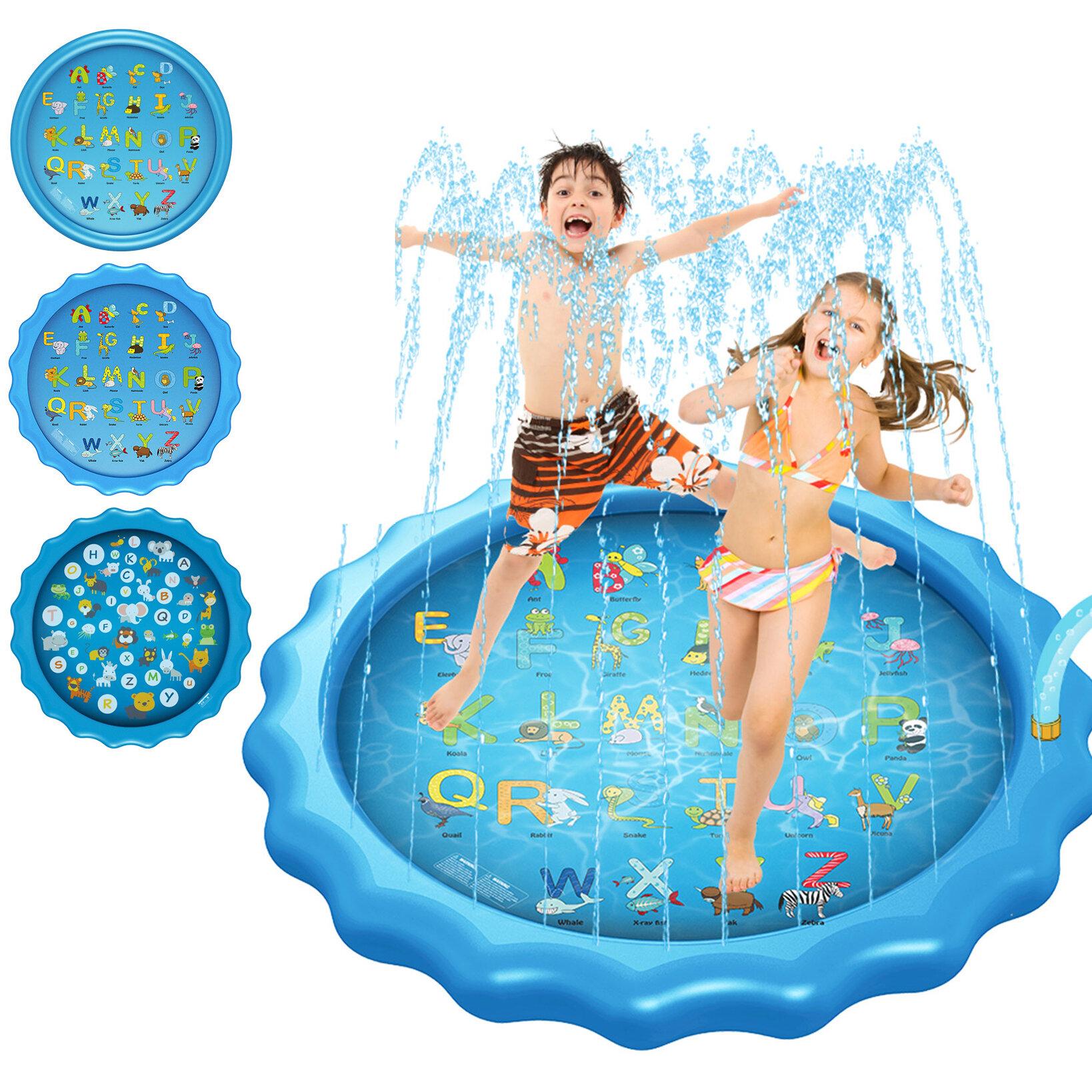 "170CM*10CM/68""*3.93'' Inflatable Swimming Pool Summer Splash Sprinkle Sprinkler Playmat Outdoor Water Play Mat Toy for Kids Children Toddlers"