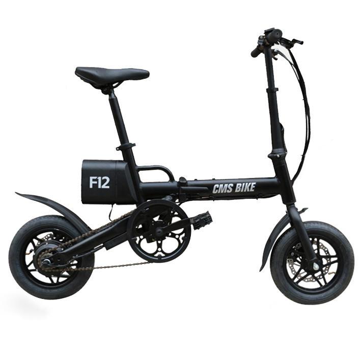 CMSBIKE F12 36V 6.6AH 250W Black 12 Inches City Folding Electric Bicycle 20km/h 50KM Mileage E Bike