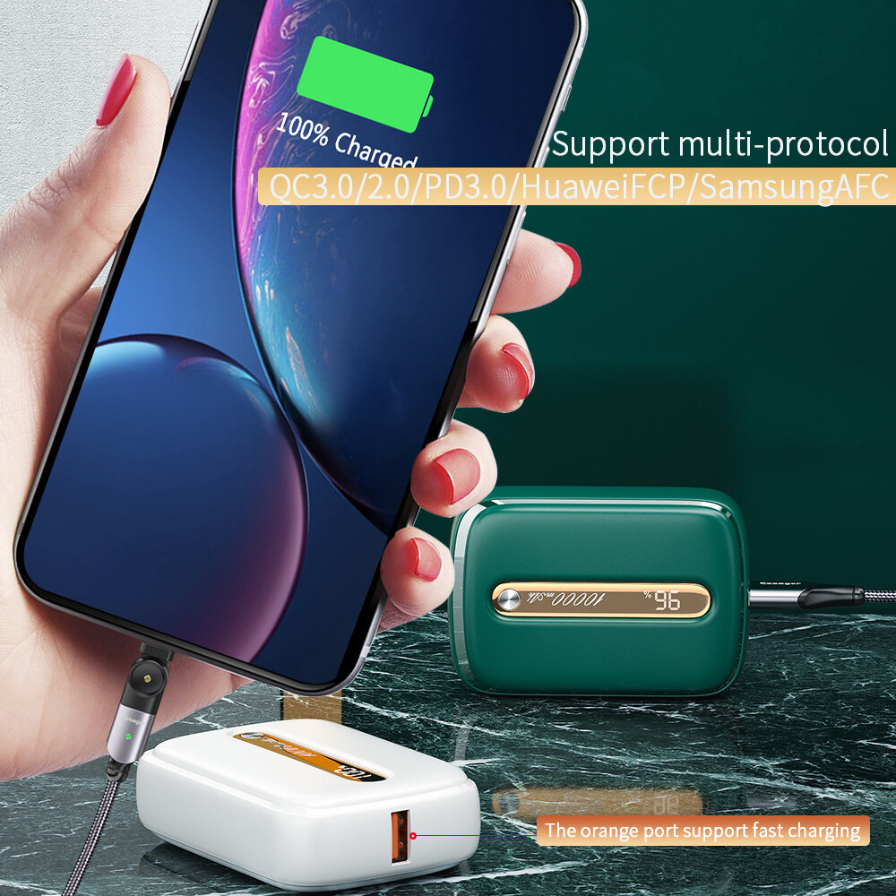 Essager Portable Mini QC3.0 + PD 18W 10000mAh Power Bank External Battery Charger Power Supply LED Display for iPhone 12 Laptop MacBook for Samsung…