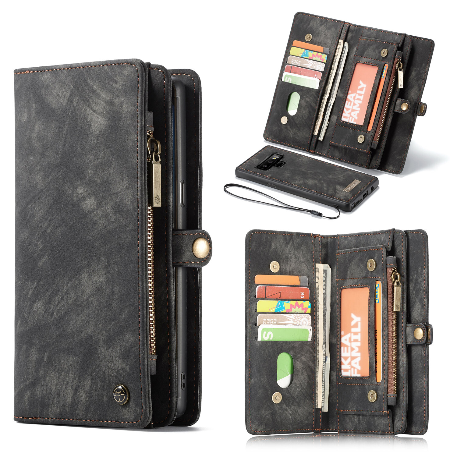 huge discount c0382 bc7bb Caseme Magnetic Detachable Wallet Phone Protective Case For Samsung Galaxy  Note 9
