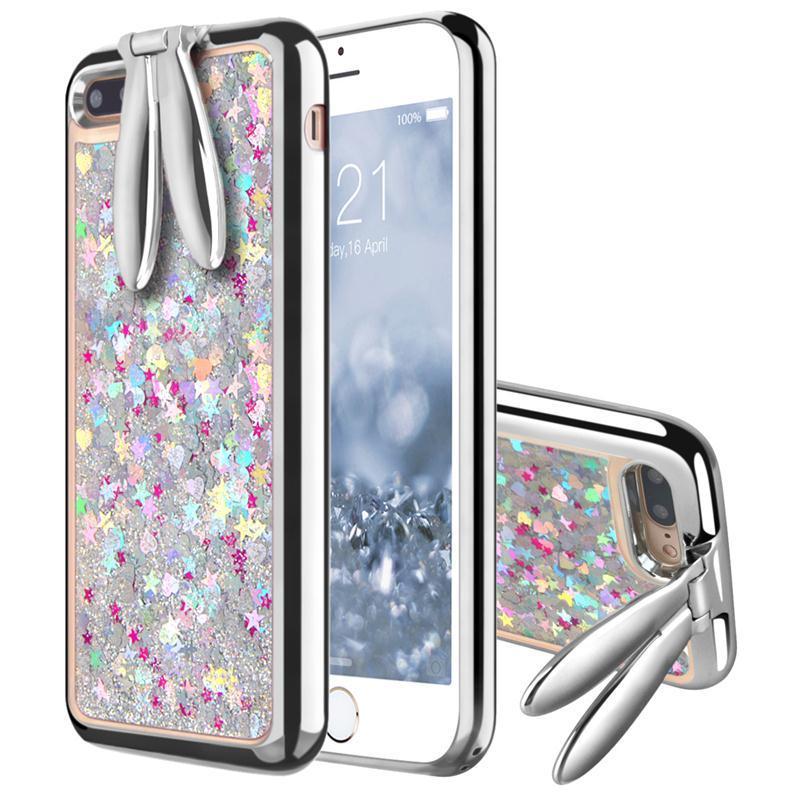 Bakeey ™ kaninør brakett Glitter Quicksand Dynamic Liquid Plating TPU Veske til iPhone 7Plus 5.5 ''