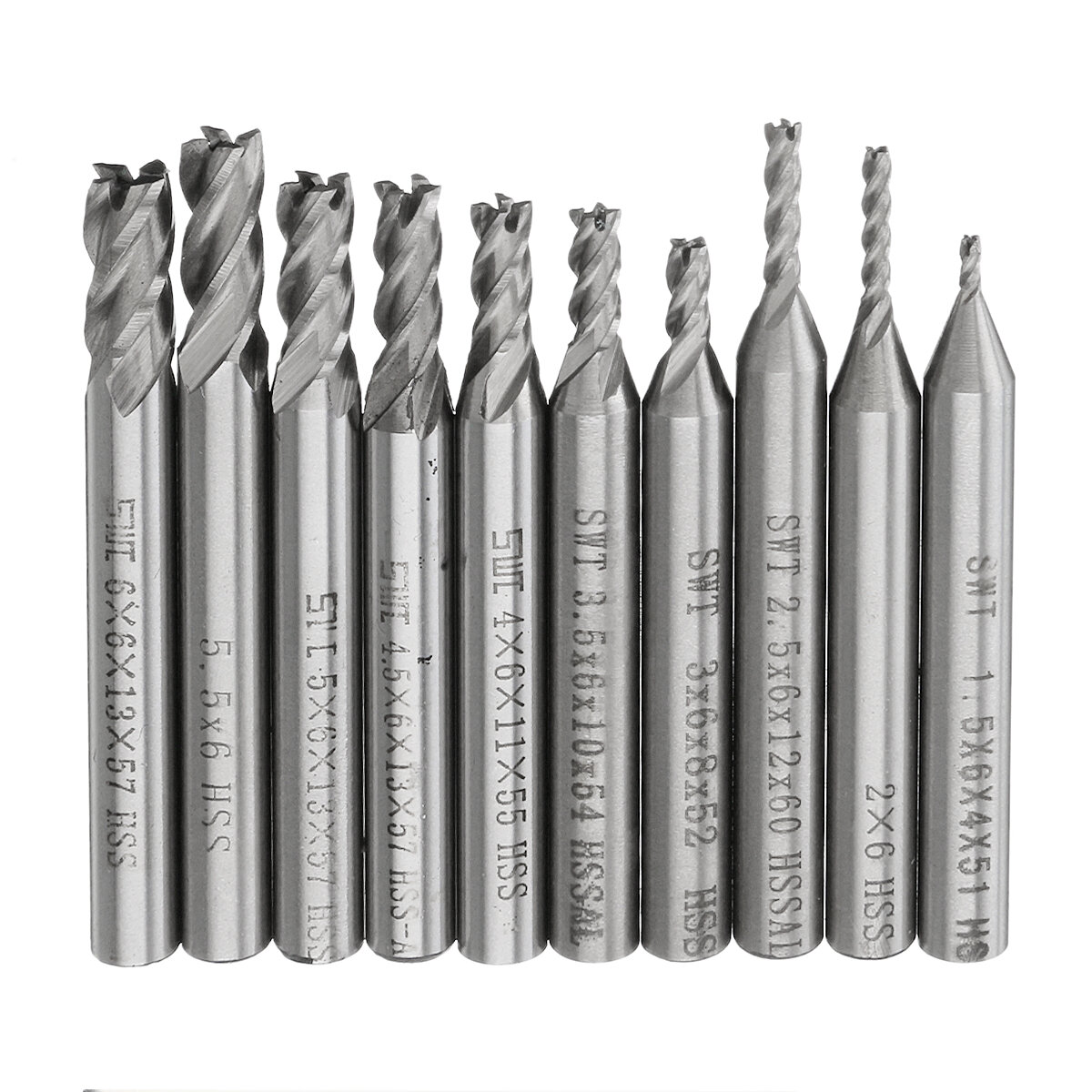 6 mm HSS 2 Flute End Mill Straight Shank for Machining Pack of 5