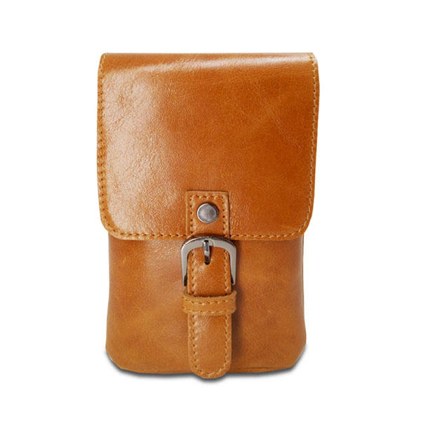 Men Genuine Leather Waist Fanny Pack Outdoor Casual Travel Cell Phone Pouch for 5.5 Inch Phones