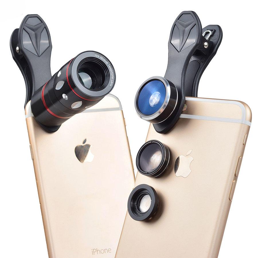 Apexel APL-JS10XDG3 Universal 10X Telephoto Zoom Fisheye Wide Angle Macro Lens for Mobile Phone