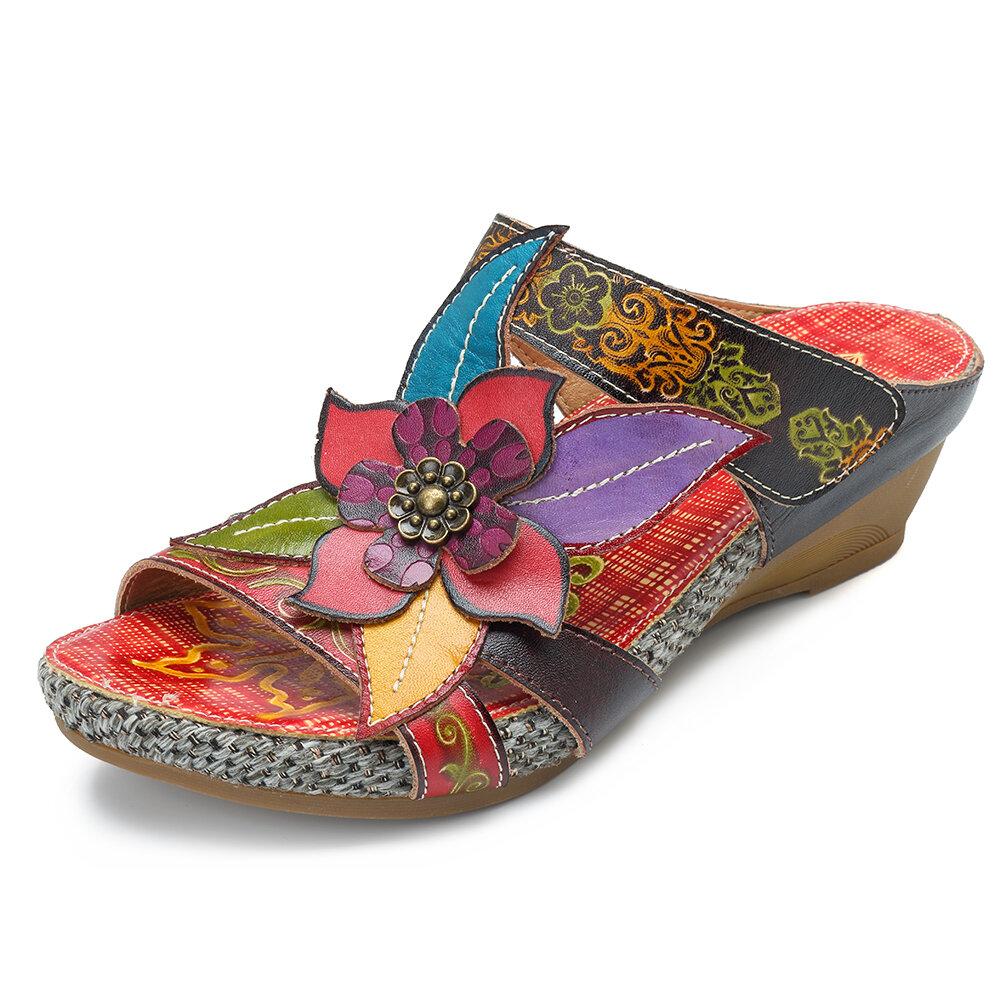 dccc9cc65285b SOCOFY Bohemian Genuine Leather Hook Loop Handmade Flowers Sandals