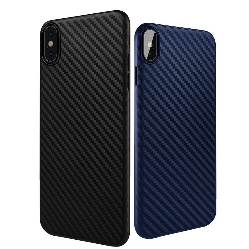 Bakeey Carbon Fiber Anti Fingerprint PP-sak for iPhone X
