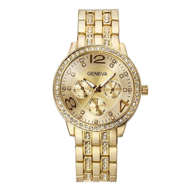 ファッションクリスタル高級ビッグナンバーステンレスバンドメンズレディースクォーツ時計