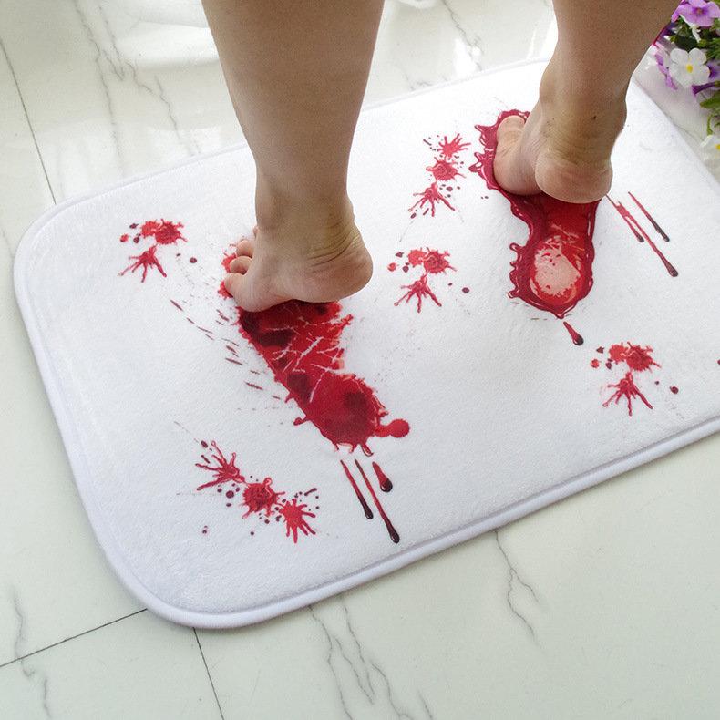 Halloween Terror Blood Footprints Antypoślizgowa mata podłogowa Łazienka Kuchnia Sypialnia Wycieraczka dywan Decor