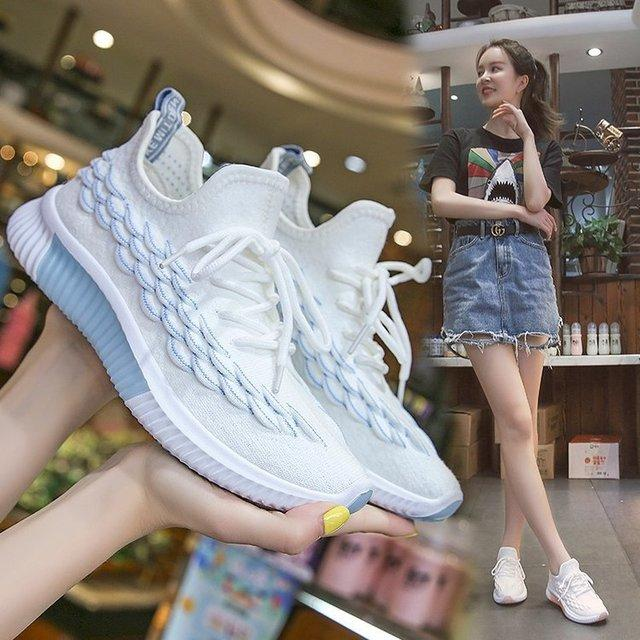 Flying Woven Women's Shoes New Breathable Mesh Casual Sports Shoes Female Students Small White Shoes Running Shoes
