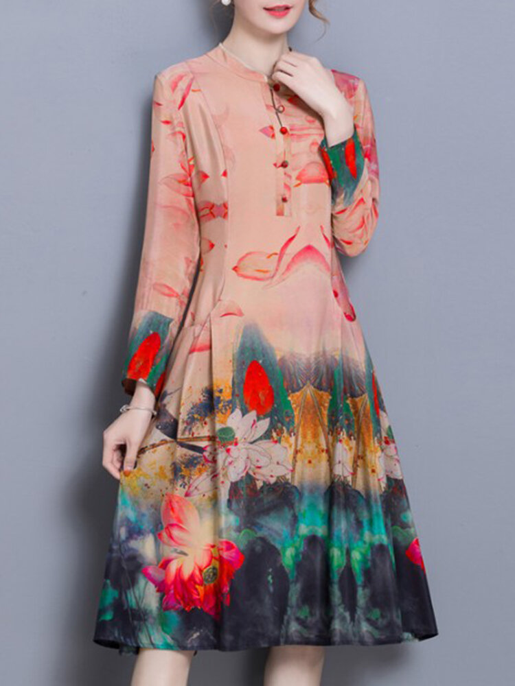 Chinese Style Floral Print Stand Collar Long Sleeve Vintage Dresses