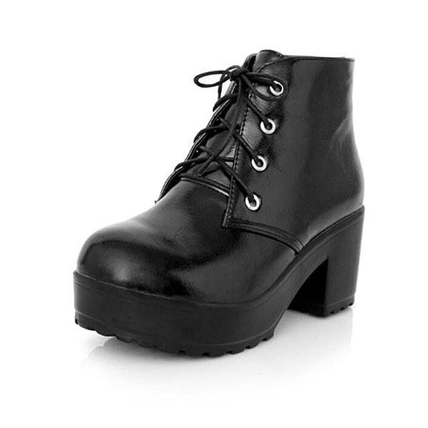 e1475afa7fc new women boots lace-up pu comfortable high heel ankle short boots ...