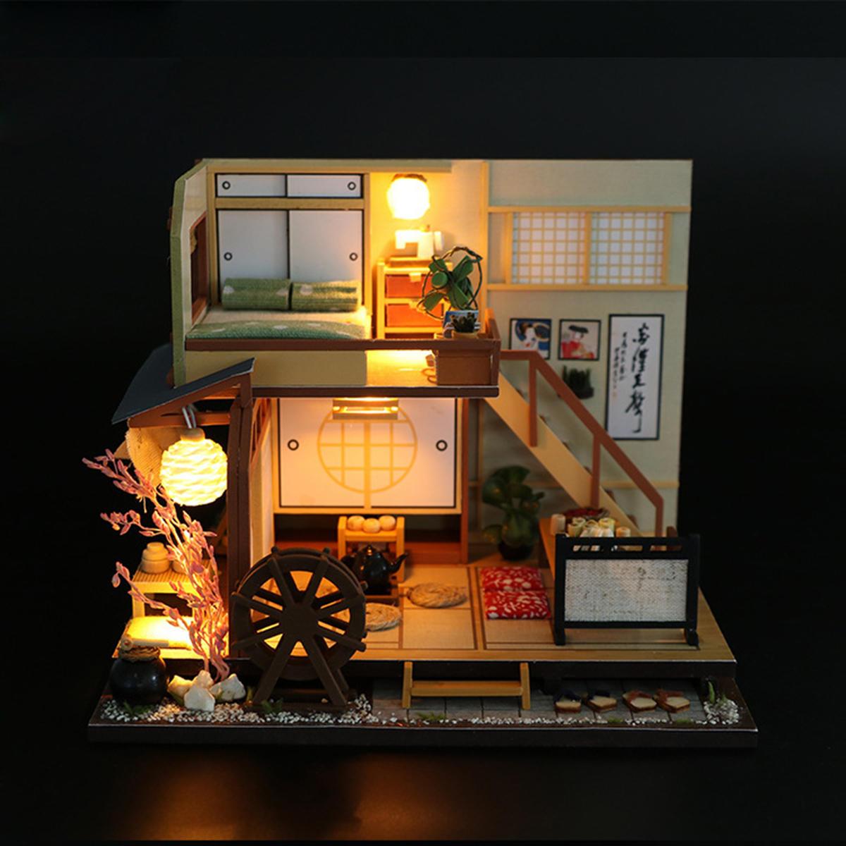 DIY Casa de Muñecas en Miniatura de Muebles de Madera LED Kit de Estilo Japonés de Artesanía de Juguete Casa de Muñecas de Regalo