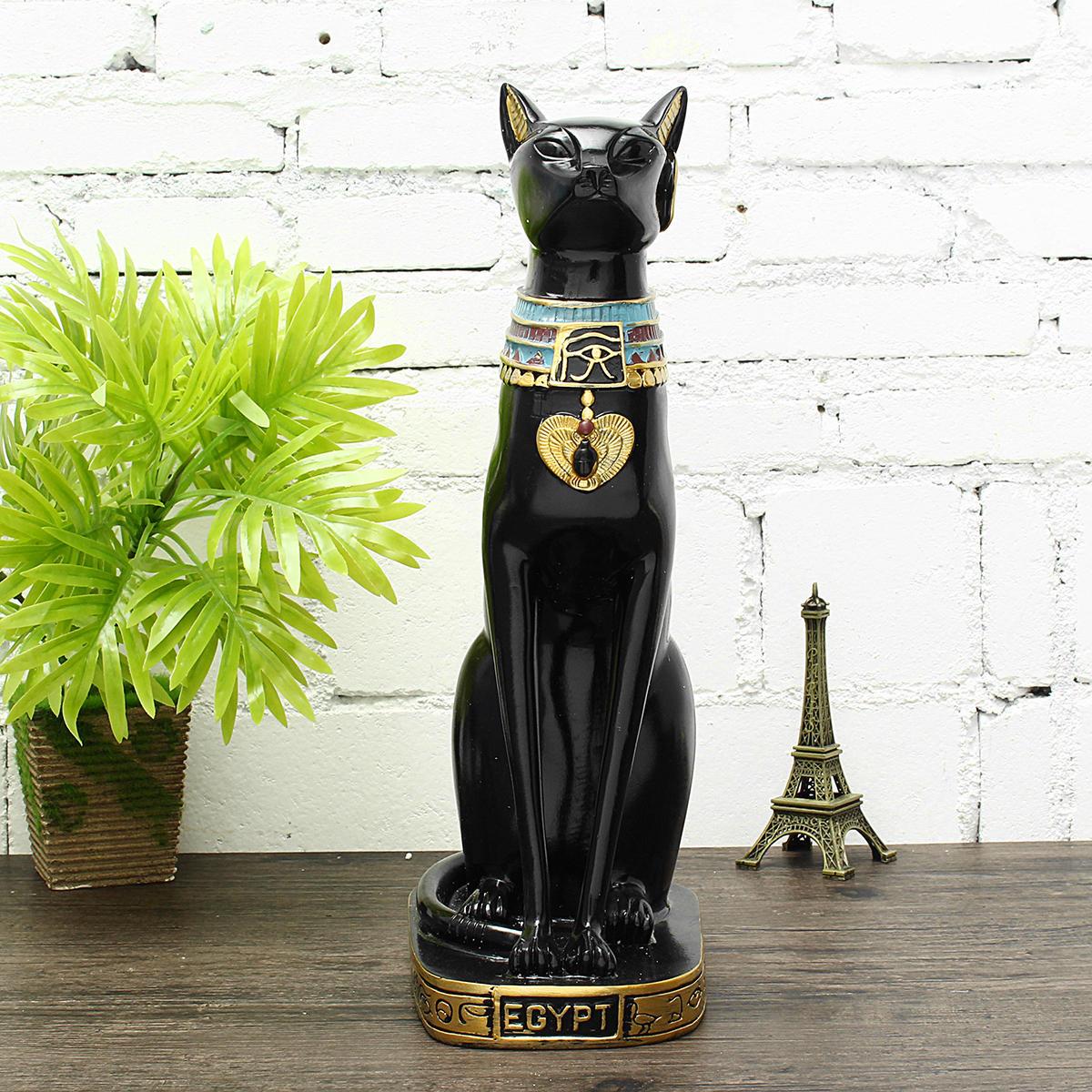 15'' Vintage Egyptian Bastet Cat Goddess Resin Figurine Black Cat Pharaoh Statue Decorations