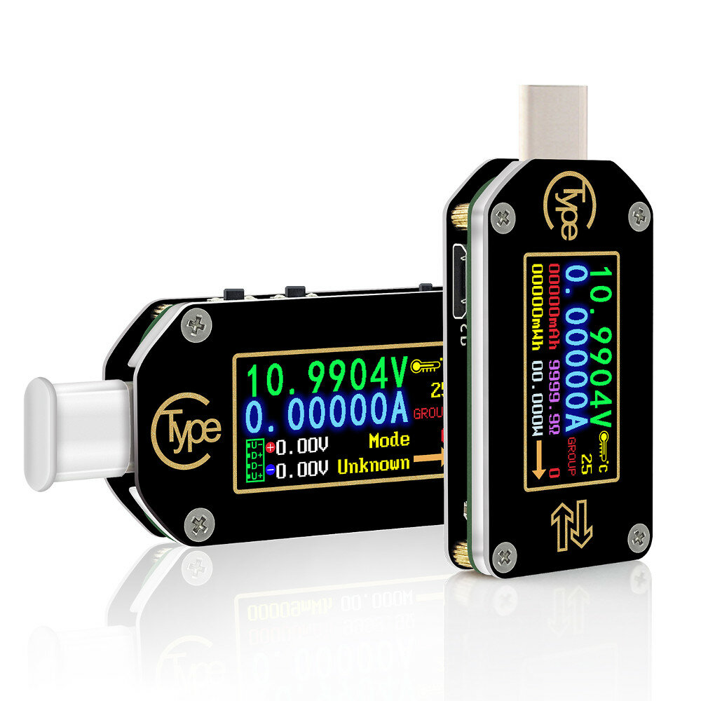 RIDEN® TC66/TC66C Type-C PD Trigger USB Voltage Ammeter Capacity Meter 2 Way Measurement Charger Battery APP PC USB Tester