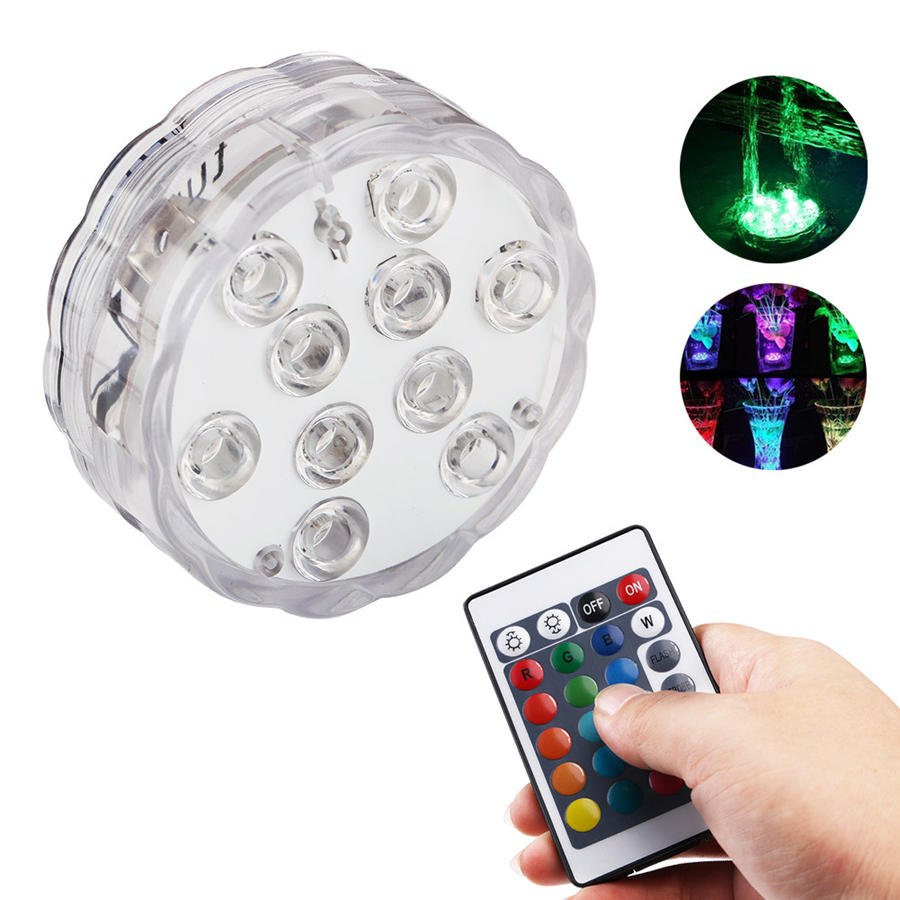 ZANLURE 10 LEDs 16 Colors Underwater Light Float Lamp Wireless Remote Control Fishing Lamp 3 x AAA