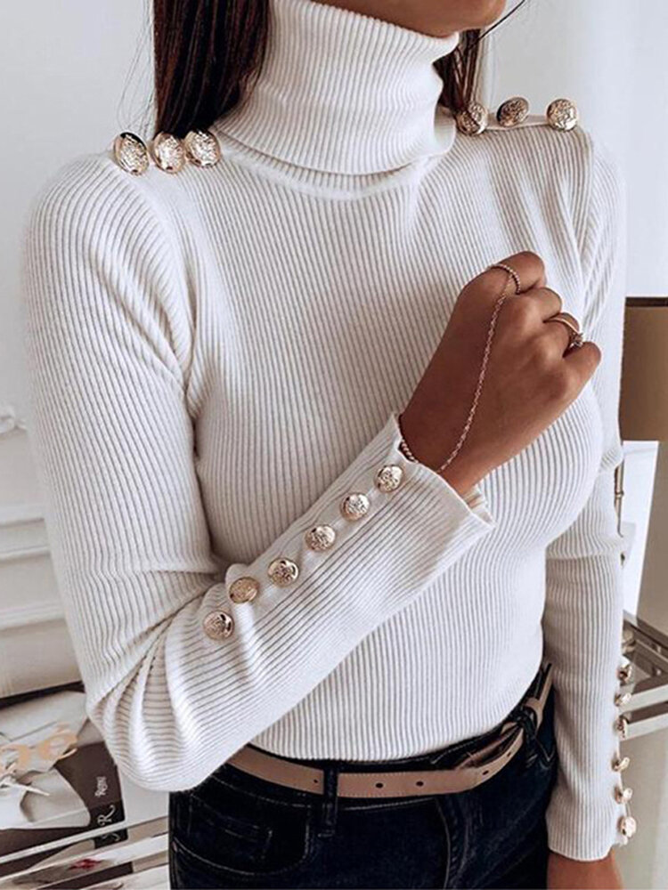 Women Turtleneck Solid Color Button Long Sleeve Basic Sweater