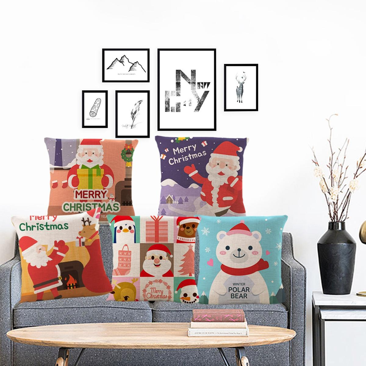 18'' Christmas Cotton Pillow Case Linen Cushion Cover Merry Christmas Home Decoration