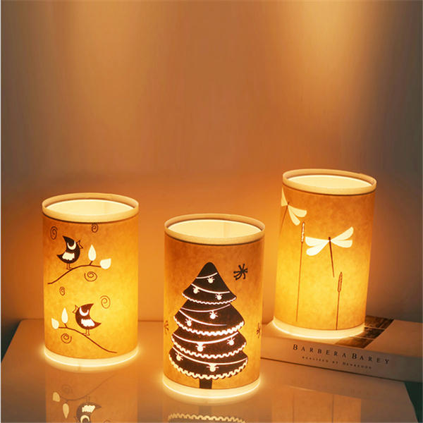 E27 Hand Carved Warm Desk Light  Parchment LED Table Lamp for Home Decor