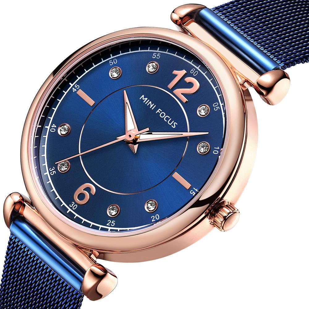 MINI FOCUS MF0177L Thiết kế thanh lịch Lưới thép Đồng hồ đeo tay nữ Đồng hồ đeo tay nữ Crystal Crystal