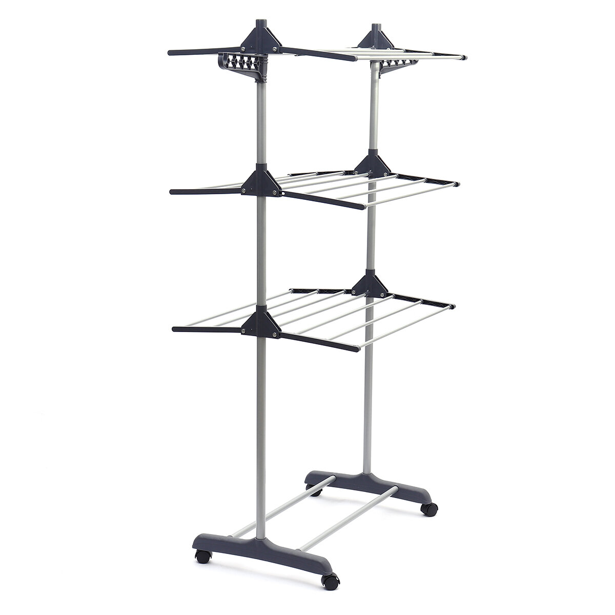 4 Floors Foldable Clothes Drying Rack With 4 Wheels For Indoor/Outdoor Use